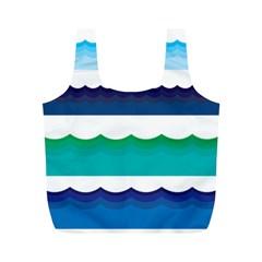 Water Border Water Waves Ocean Sea Full Print Recycle Bags (m)