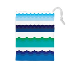 Water Border Water Waves Ocean Sea Drawstring Pouches (large)