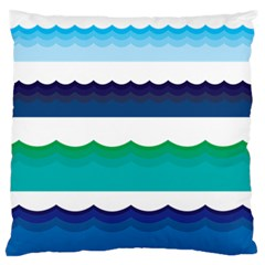Water Border Water Waves Ocean Sea Large Flano Cushion Case (two Sides)