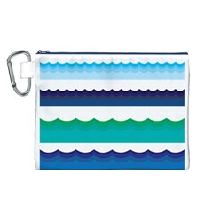 Water Border Water Waves Ocean Sea Canvas Cosmetic Bag (l)