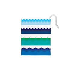 Water Border Water Waves Ocean Sea Drawstring Pouches (xs)