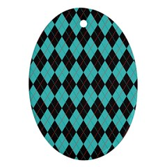 Tumblr Static Argyle Pattern Blue Black Ornament (oval)