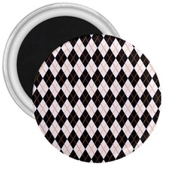 Tumblr Static Argyle Pattern Gray Brown 3  Magnets