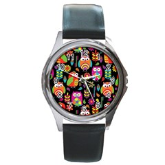 Ultra Soft Owl Round Metal Watch