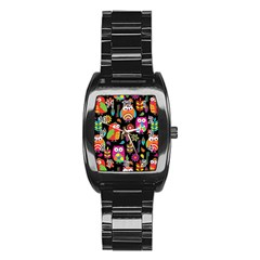 Ultra Soft Owl Stainless Steel Barrel Watch
