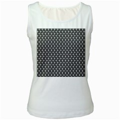 Webbing Woven Bamboo Women s White Tank Top