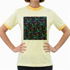 Twiddy Tropical Fish Pattern Women s Fitted Ringer T Shirts