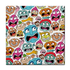 Weird Faces Pattern Tile Coasters