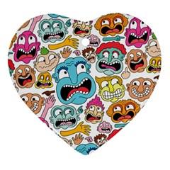 Weird Faces Pattern Ornament (heart)