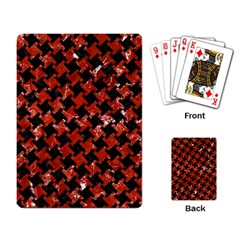 Houndstooth2 Black Marble & Red Marble Playing Cards Single Design