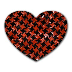 Houndstooth2 Black Marble & Red Marble Heart Mousepad