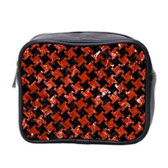 Houndstooth2 Black Marble & Red Marble Mini Toiletries Bag (two Sides)