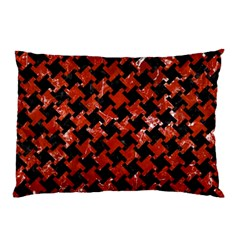 Houndstooth2 Black Marble & Red Marble Pillow Case (two Sides)