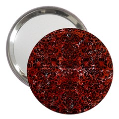 Damask2 Black Marble & Red Marble (r) 3  Handbag Mirror