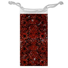 Damask2 Black Marble & Red Marble Jewelry Bag