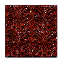 Damask2 Black Marble & Red Marble Face Towel
