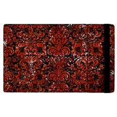 Damask2 Black Marble & Red Marble Apple Ipad 3/4 Flip Case