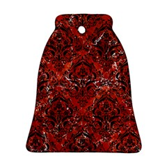 Damask1 Black Marble & Red Marble (r) Bell Ornament (two Sides)
