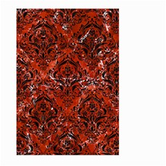 Damask1 Black Marble & Red Marble (r) Large Garden Flag (two Sides)