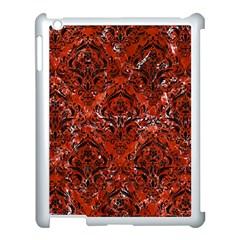 Damask1 Black Marble & Red Marble (r) Apple Ipad 3/4 Case (white)