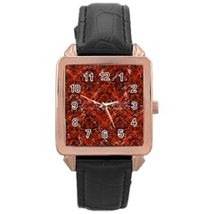 Damask1 Black Marble & Red Marble (r) Rose Gold Leather Watch