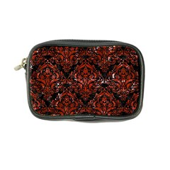Damask1 Black Marble & Red Marble Coin Purse