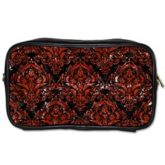 Damask1 Black Marble & Red Marble Toiletries Bag (two Sides)