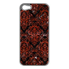 Damask1 Black Marble & Red Marble Apple Iphone 5 Case (silver)
