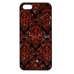 Damask1 Black Marble & Red Marble Apple Iphone 5 Seamless Case (black)