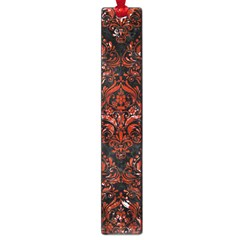 Damask1 Black Marble & Red Marble Large Book Mark
