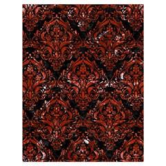 Damask1 Black Marble & Red Marble Drawstring Bag (large)