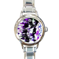 Abstract Canvas Acrylic Digital Design Round Italian Charm Watch