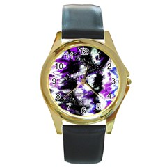 Abstract Canvas Acrylic Digital Design Round Gold Metal Watch
