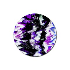 Abstract Canvas Acrylic Digital Design Rubber Round Coaster (4 Pack)