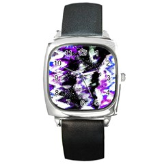 Abstract Canvas Acrylic Digital Design Square Metal Watch