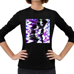 Abstract Canvas Acrylic Digital Design Women s Long Sleeve Dark T Shirts