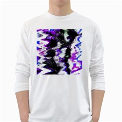 Abstract Canvas Acrylic Digital Design White Long Sleeve T Shirts