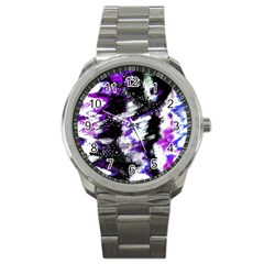 Abstract Canvas Acrylic Digital Design Sport Metal Watch