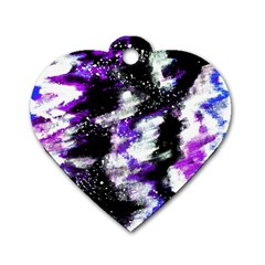Abstract Canvas Acrylic Digital Design Dog Tag Heart (two Sides)