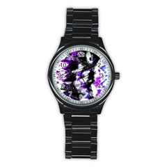Abstract Canvas Acrylic Digital Design Stainless Steel Round Watch
