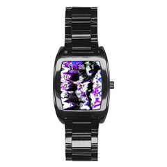 Abstract Canvas Acrylic Digital Design Stainless Steel Barrel Watch
