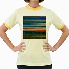 Background Horizontal Lines Women s Fitted Ringer T Shirts
