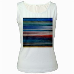 Background Horizontal Lines Women s White Tank Top