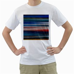 Background Horizontal Lines Men s T Shirt (white) (two Sided)