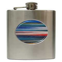 Background Horizontal Lines Hip Flask (6 Oz)