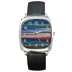 Background Horizontal Lines Square Metal Watch