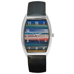 Background Horizontal Lines Barrel Style Metal Watch