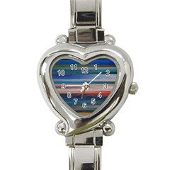Background Horizontal Lines Heart Italian Charm Watch
