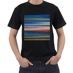 Background Horizontal Lines Men s T Shirt (black) (two Sided)
