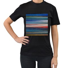 Background Horizontal Lines Women s T-Shirt (Black) (Two Sided)